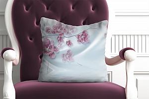 3D Подушка «Ювелирная орхидея на шелковом фоне»