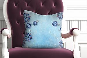 3D Подушка «Драгоценные цветы на голубом фоне»