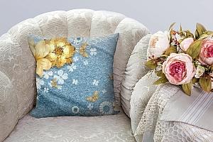 3D Подушка «Золотые цветы с бабочками на голубой ткани» вид 5