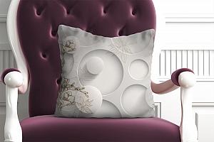 3D Подушка «Объемные круги с цветочным узором»