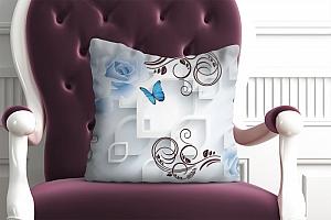 3D Подушка «Композиция с голубыми цветами в современном стиле»