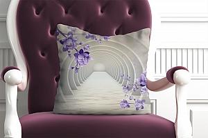 3D Подушка «Объемные арки с фиолетовыми цветами»