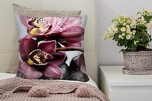 3D Подушка «Прекрасные орхидеи на камнях»