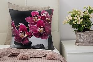 3D Подушка «Бордовые орхидеи»