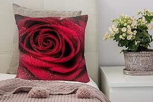 3D Подушка «Большая роза в росе»