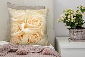 3D Подушка «Ковер из бежевых роз»