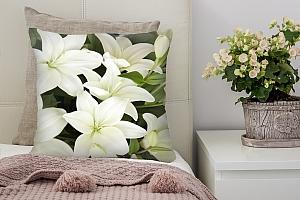3D Подушка «Белоснежные лилии»