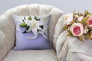 3D Подушка «Лилии с белыми лентами» вид 3