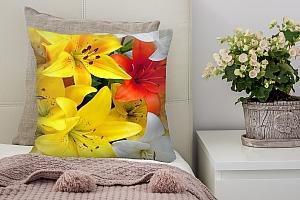 3D Подушка «Красивые яркие лилии»