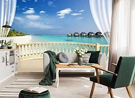 3D Фотообои  «С видом на террасу Мальдивы»  вид 4