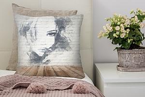 3D Подушка «Портрет на стене»