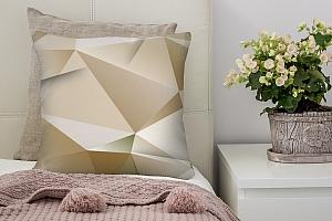 3D Подушка «Бежевые полигоны»