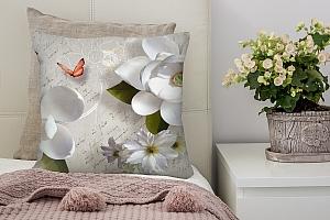 3D Подушка «Белые цветы» вид 2