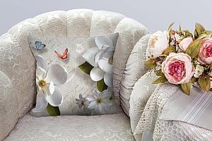 3D Подушка «Белые цветы» вид 3