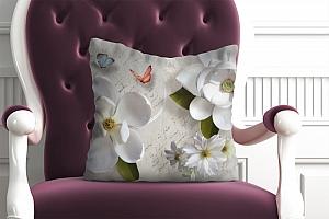 3D Подушка «Белые цветы» вид 4