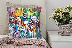 3D Подушка «Дождь из красок»