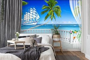 "3D Фотообои  ""Терраса с видом на море и пляж""  вид 7"