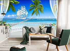 "3D Фотообои  ""Терраса с видом на море и пляж""  вид 4"