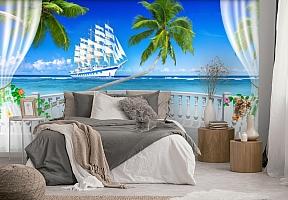 "3D Фотообои  ""Терраса с видом на море и пляж""  вид 3"