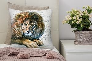 3D Подушка «Лев акварелью»
