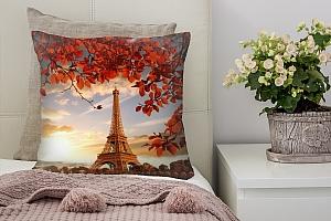 3D Подушка «Яркая осень в Париже»