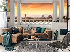 3D Фотообои  «Балкон с колоннами вид на Ватикан»  вид 2