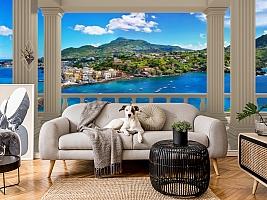 3D Фотообои  «Балкон с колоннами средиземноморский пейзаж»  вид 5