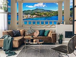3D Фотообои  «Балкон с колоннами средиземноморский пейзаж»  вид 2