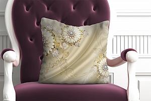 3D Подушка «Драгоценные цветы на шелке»