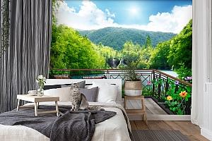 3D Фотообои  «Балкон в долине водопадов»  вид 7