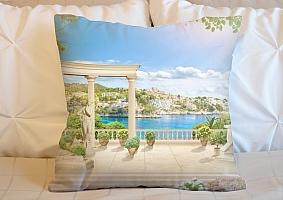3D Подушка «Античная терраса на Греческом побережье»