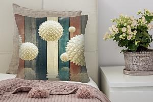 3D Подушка «Колючие шары на древесном фоне»