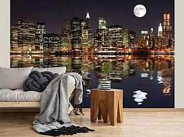 3D фотообои 3D Фотообои  «Луна над ночным городом»  вид 2