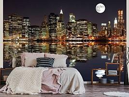 3D фотообои 3D Фотообои  «Луна над ночным городом»  вид 3