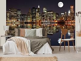 3D фотообои 3D Фотообои  «Луна над ночным городом»  вид 4