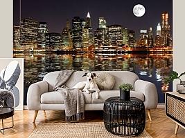 3D фотообои 3D Фотообои  «Луна над ночным городом»  вид 6