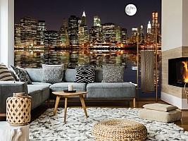 3D фотообои 3D Фотообои  «Луна над ночным городом»  вид 7