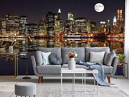 3D фотообои 3D Фотообои  «Луна над ночным городом»  вид 8