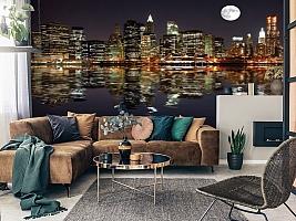 3D Фотообои  «Луна над ночным городом»  вид 7