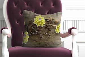 3D Подушка «Желтые цветочки на камне»