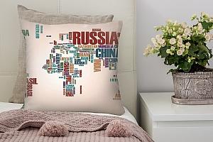 3D Подушка «Континенты из слов»