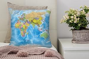 3D Подушка «Мир политическая карта»