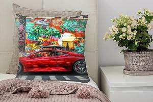 3D Подушка «Красный автомобиль на фоне граффити»