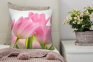 3D Подушка «Крупные розовые тюльпаны»