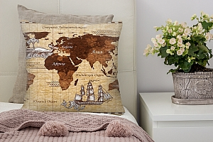 3D Подушка «Декоративная карта мира»