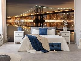 3D Фотообои  «Бруклинский мост: отражение в реке Гудзон»  вид 8