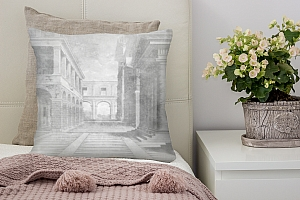 3D Подушка «Черно белая фреска на штукатурке»
