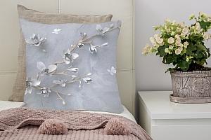 3D Подушка «Бабочки над цветущей веткой»
