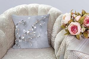3D Подушка «Бабочки над цветущей веткой» вид 3