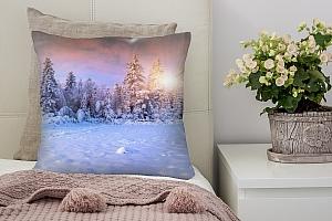 3D Подушка «Заснеженный пейзаж»